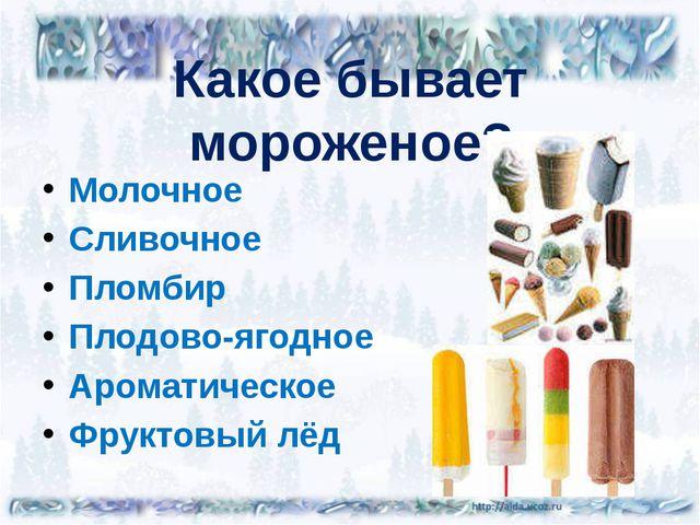 Какое бывает мороженое? Молочное Сливочное Пломбир Плодово-ягодное Ароматичес...