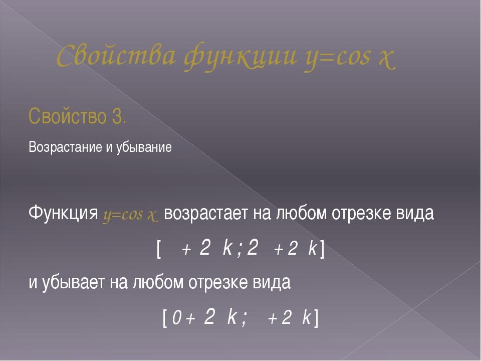 Свойства функции y=cos x Свойство 3. Возрастание и убывание Функция y=cos x в...