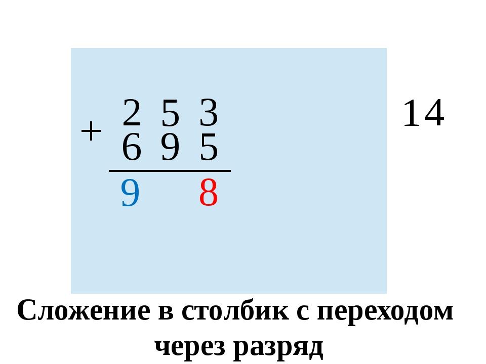 2 5 3 + 6 9 5 1 4 8 9 Сложение в столбик с переходом через разряд      ...