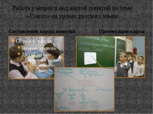 Работа учащихся над картой понятий по теме «Глагол» на уроках русского языка