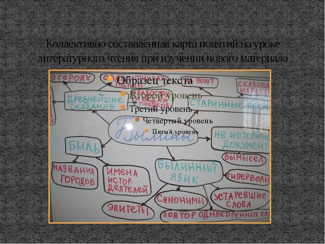Коллективно составленная карта понятий на уроке литературного чтения при изуч...