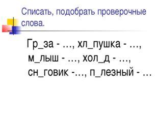 Списать, подобрать проверочные слова. Гр_за - …, хл_пушка - …, м_лыш - …, хол