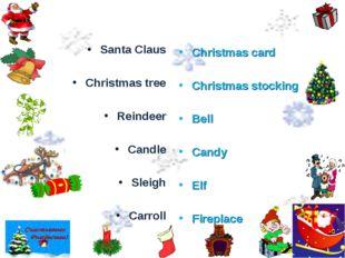 Santa Claus Christmas tree Reindeer Candle Sleigh Carroll Christmas card Chri
