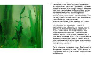 Цианобактерии - сине-зеленые водоросли, вырабатывают ларгазол - вещество, кот