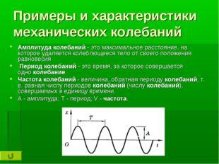Примеры и характеристики механических колебаний Амплитудаколебаний- это мак
