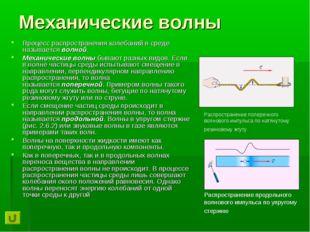 Механические волны Процесс распространения колебаний в среде называетсяволно