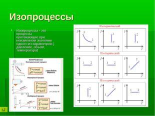 Изопроцессы Изопроцессы - это процессы протекающие при неизменном значении од