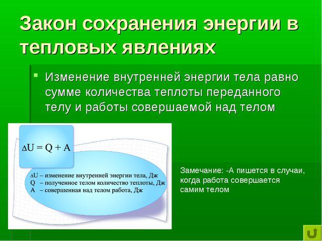 Закон сохранения энергии в тепловых явлениях Изменение внутренней энергии тел...