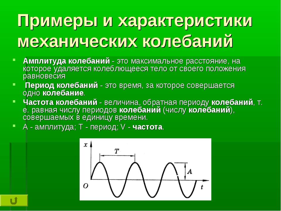 Примеры и характеристики механических колебаний Амплитудаколебаний- это мак...