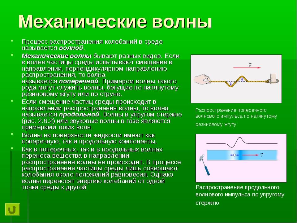Механические волны Процесс распространения колебаний в среде называетсяволно...