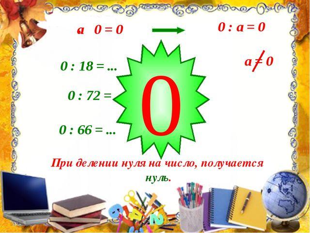 0 : а = 0 0 : 72 = ... 0 : 18 = ... 0 : 66 = ... 0 При делении нуля на число...