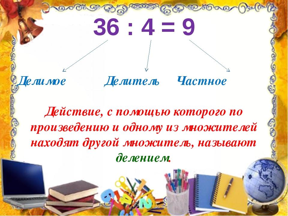 36 : 4 = 9 Делимое Делитель Частное Действие, с помощью которого по произведе...