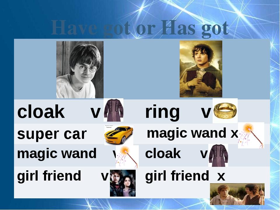 Have got or Has got cloak v ring v super car x magic wand x magic wand v cloa...