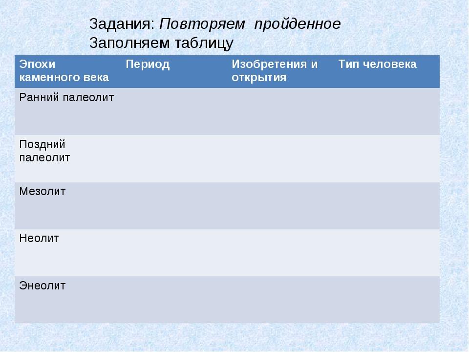 Задания: Повторяем пройденное Заполняем таблицу Эпохи каменного векаПериод...