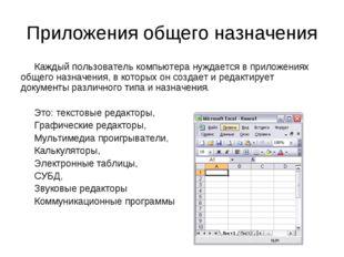 Приложения общего назначения Каждый пользователь компьютера нуждается в прило