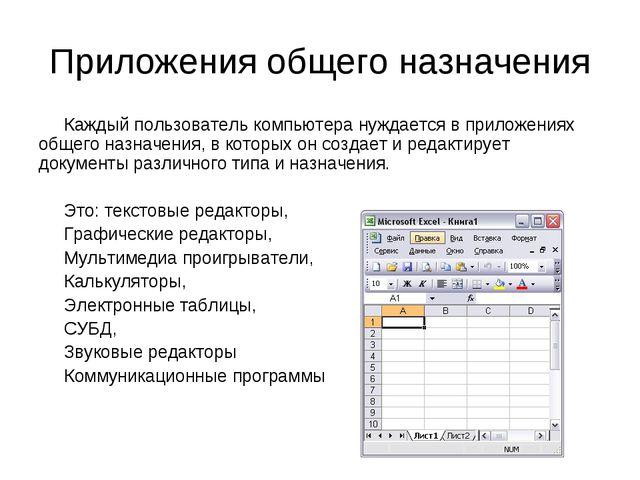 Приложения общего назначения Каждый пользователь компьютера нуждается в прило...