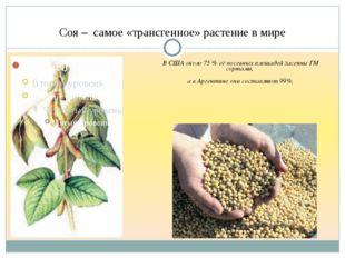Соя – самое «трансгенное» растение в мире В США около 75 % её посевных площад