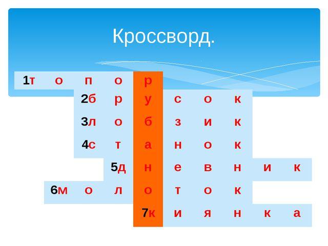Кроссворд. 1т о п о р 2б р у с о к 3л о б з и к 4с т а н о к 5д н е в н и к...