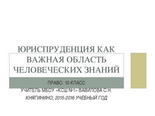 ПРАВО. 10 КЛАСС УЧИТЕЛЬ МБОУ «КСШ №1» ВАВИЛОВА С.Н. КНЯГИНИНО, 2015-2016 УЧЕБ