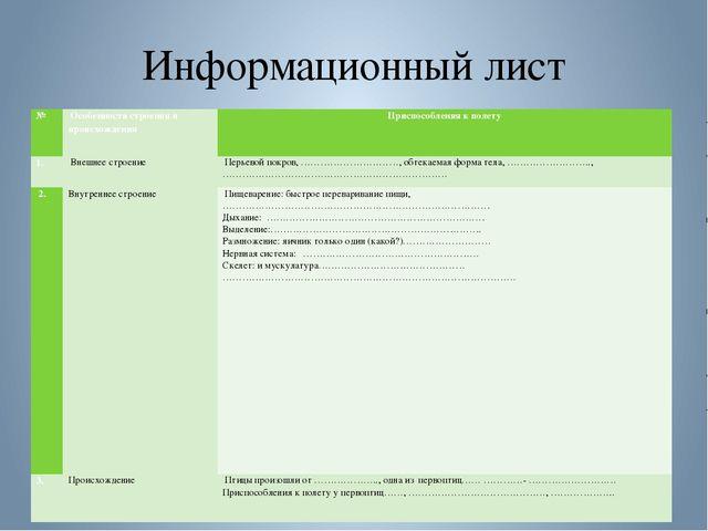 Информационный лист № Особенности строения и происхождения Приспособления к п...
