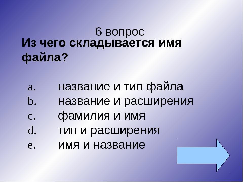 6 вопрос Из чего складывается имя файла? a.название и тип файла b.название...