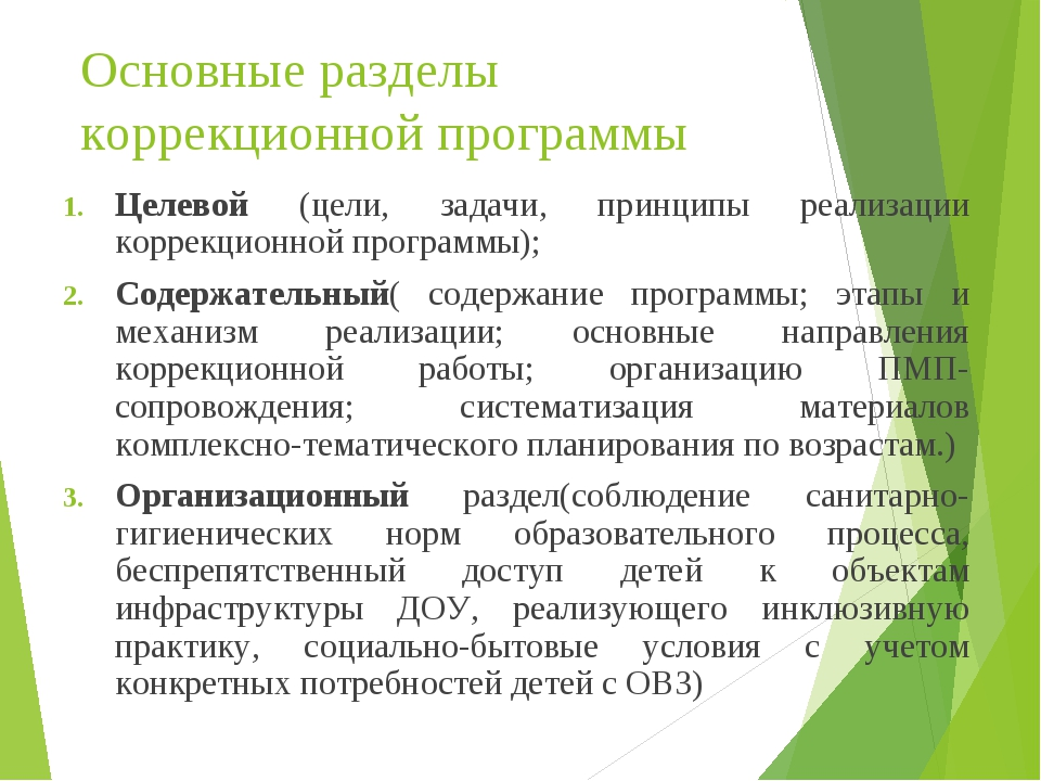 Основные разделы коррекционной программы Целевой (цели, задачи, принципы реал...