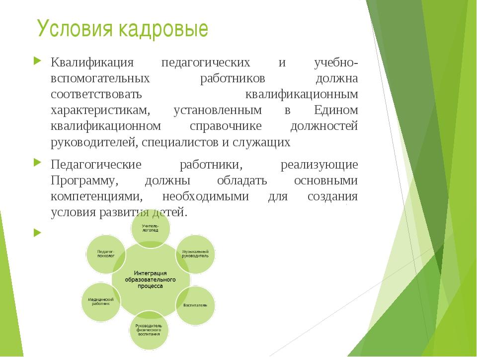 Условия кадровые Квалификация педагогических и учебно-вспомогательных работни...