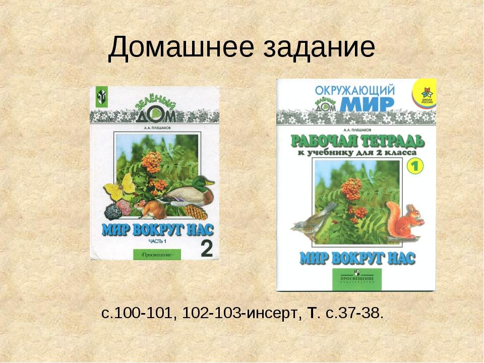 Домашнее задание с.100-101, 102-103-инсерт, Т. с.37-38.