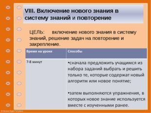 VIII. Включение нового знания в систему знаний и повторение ЦЕЛЬ: включение