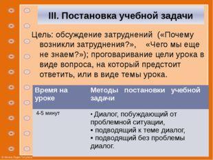 III. Постановка учебной задачи Цель: обсуждение затруднений («Почему возникл