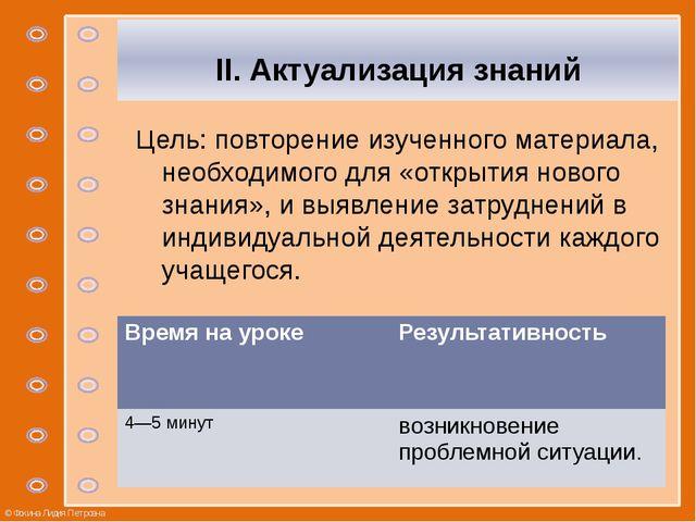 II. Актуализация знаний Цель: повторение изученного материала, необходимого...