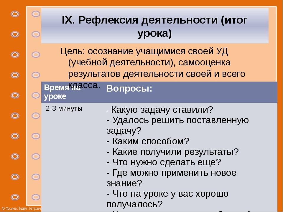 IX. Рефлексия деятельности (итог урока) Цель: осознание учащимися своей УД (...