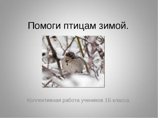 Помоги птицам зимой. Коллективная работа учеников 1Б класса.