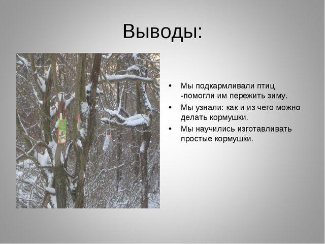 Выводы: Мы подкармливали птиц -помогли им пережить зиму. Мы узнали: как и из...