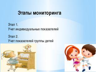 Этапы мониторинга Этап 1. Учет индивидуальных показателей Этап 2. Учет показа