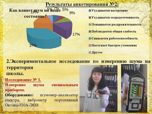 Результаты анкетирования №2: 2.Экспериментальное исследование по измерению шу...