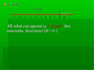 """4. Х ≥8 Мұндай сан аралығы """" сәуле"""" деп аталады. Белгіленуі [8;+∞ ) -1 5 0 1"""