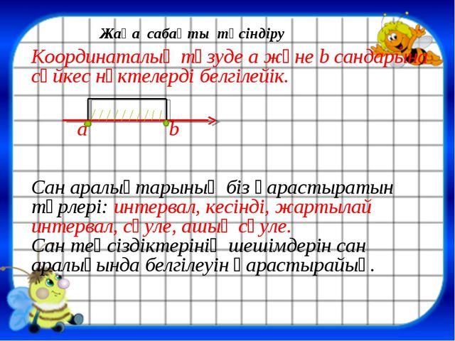 Координаталық түзуде a және b сандарына сәйкес нүктелерді белгілейік. a b Сан...