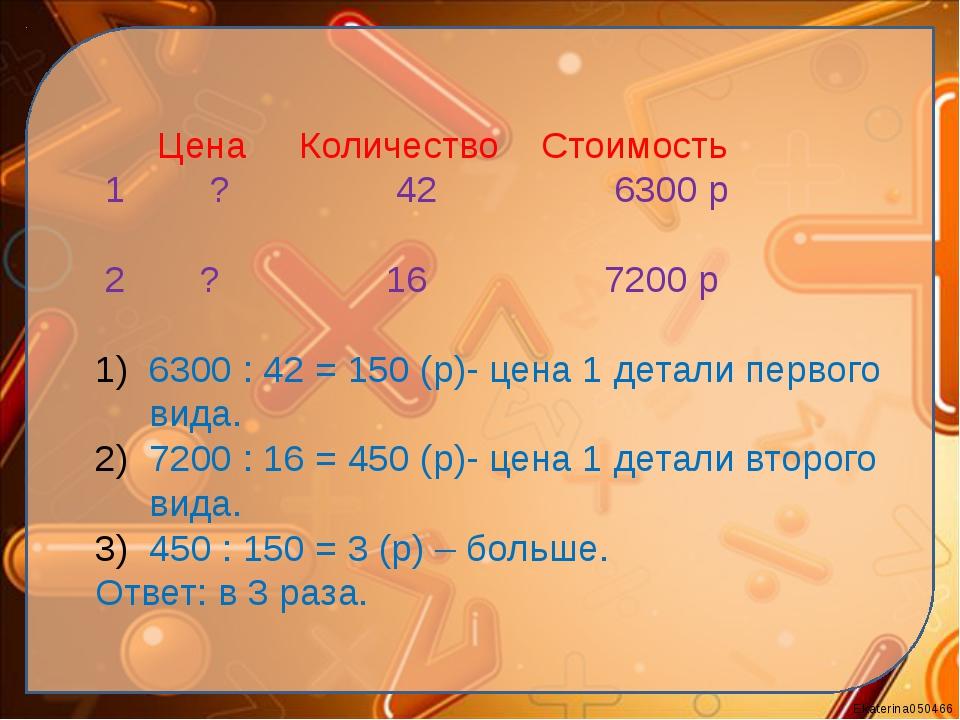 Цена Количество Стоимость 1 ? 42 6300 р 2 ? 16 7200 р 6300 : 42 = 150 (р)- ц...