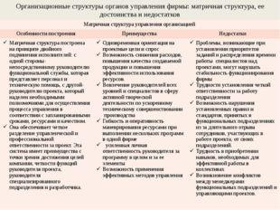 Организационные структуры органов управления фирмы: матричная структура, ее д