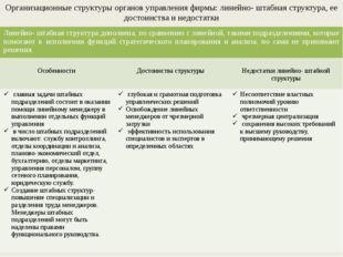 Организационные структуры органов управления фирмы: линейно- штабная структур