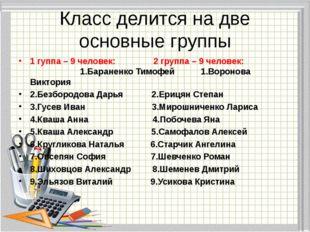 Класс делится на две основные группы 1 гуппа – 9 человек: 2 группа – 9 челове