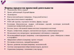 Формы продуктов проектной деятельности Тематические газета, журнал Проект дей