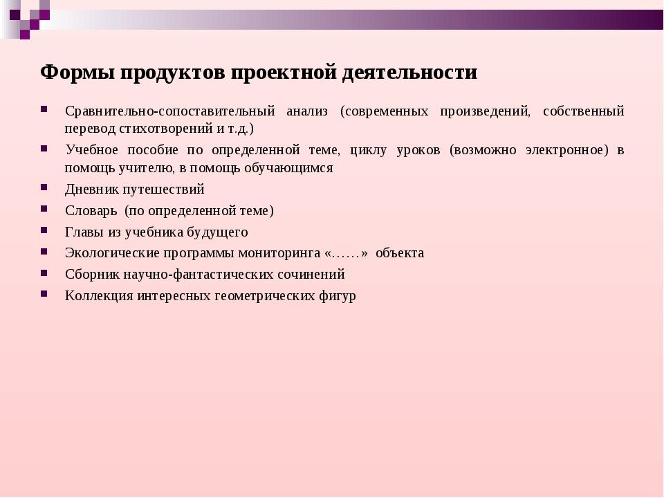 Формы продуктов проектной деятельности Сравнительно-сопоставительный анализ (...