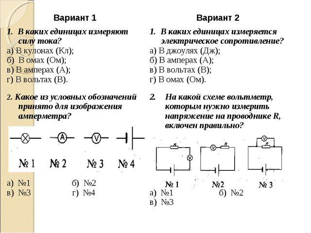 Вариант 1Вариант 2 1. В каких единицах измеряют силу тока? а) В кулонах (Кл)...