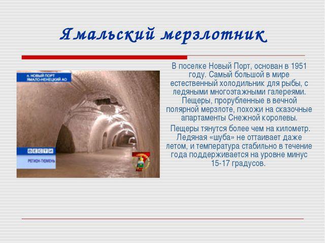 Ямальский мерзлотник В поселке Новый Порт, основан в 1951 году. Самый большой...