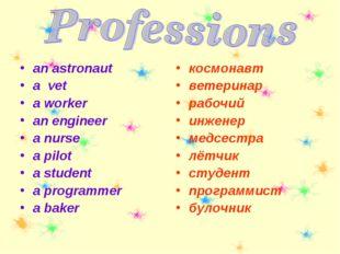 an astronaut a vet a worker an engineer a nurse a pilot a student a programme