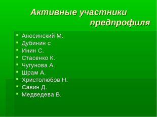 Активные участники предпрофиля Аносинский М. Дубинин с Инин С. Стасенко К. Чу