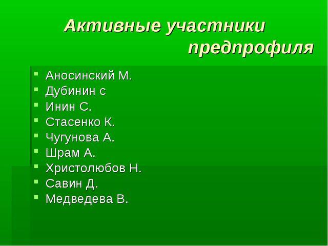 Активные участники предпрофиля Аносинский М. Дубинин с Инин С. Стасенко К. Чу...