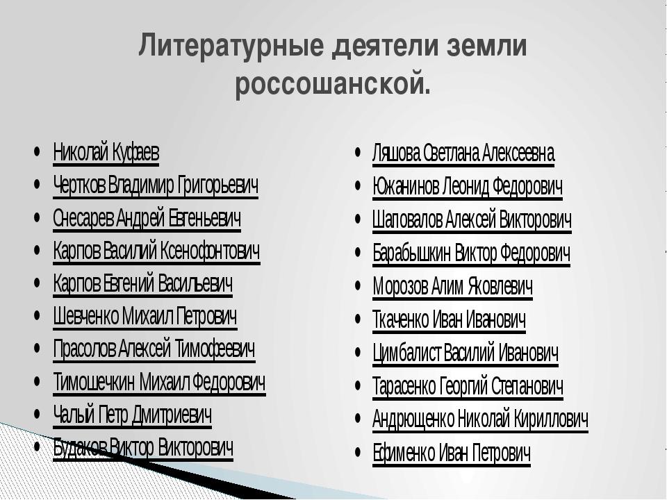 Литературные деятели земли россошанской.